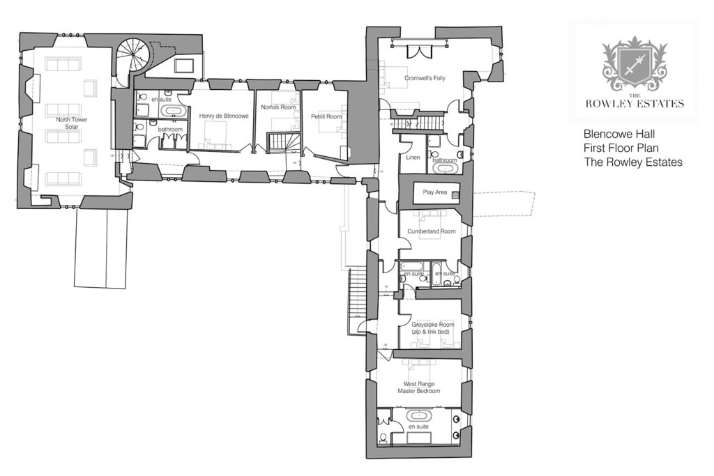 Blencow Hall first floor plan - click to view as PDF