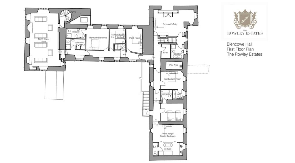 Blencowe Hall first floor plan - click to view as PDF