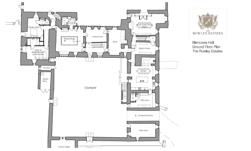 Blencowe Hall ground floor plan - click to view as PDF