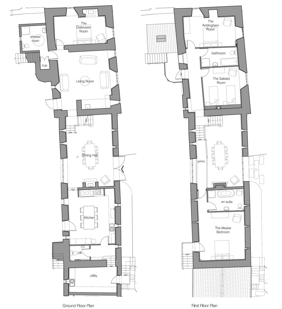 Glassonby Old Hall floor plan - click to view as PDF