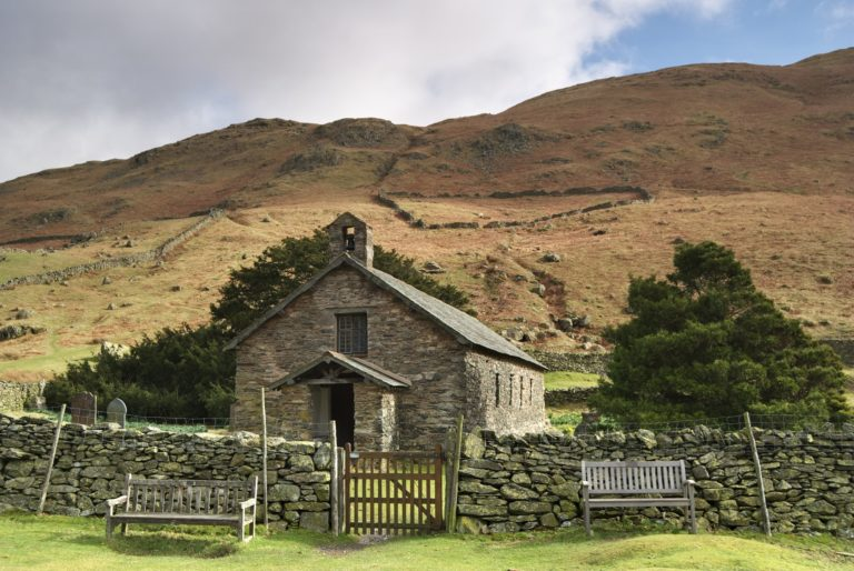 A view of Martindale Chapel in the English lake District